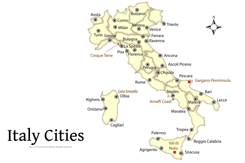 Cartina Turistica Italia.Italia Mappa Destinazioni Turistiche Mappa Turistica D Italia Con La Citta Europa Del Sud Europa