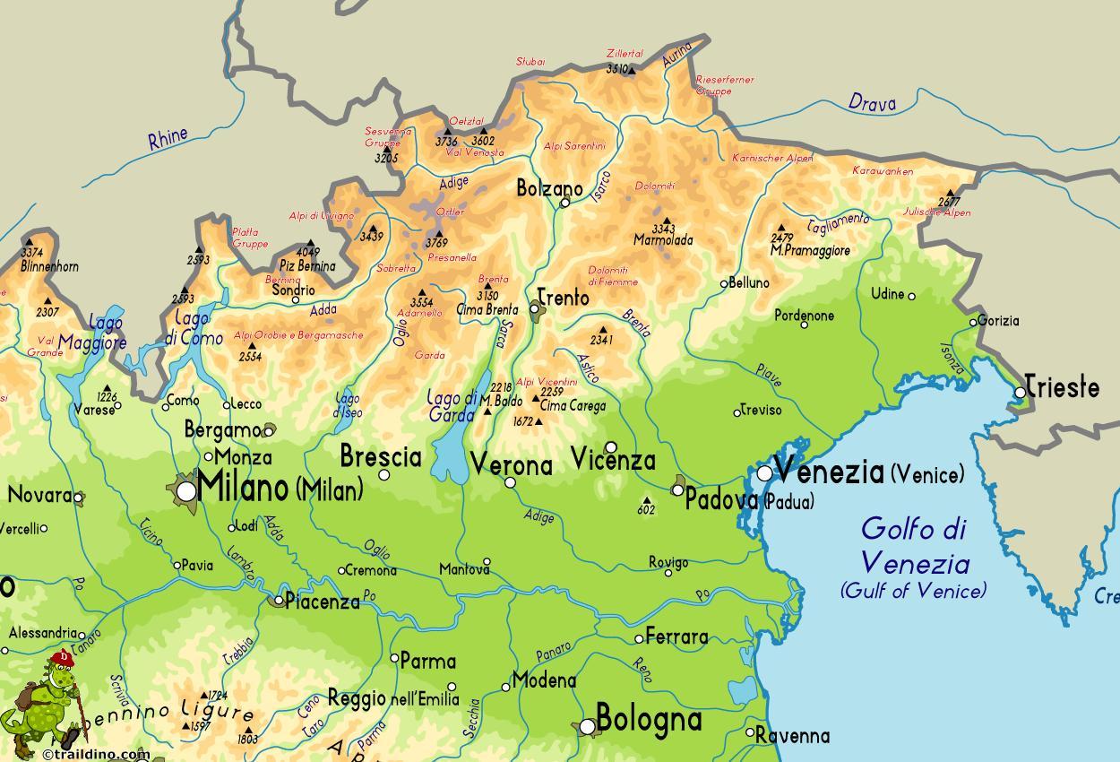 Italia Cartina Nord.Nord Est Italia Mappa Mappa Di Nord Est Italia Europa Del Sud Europa