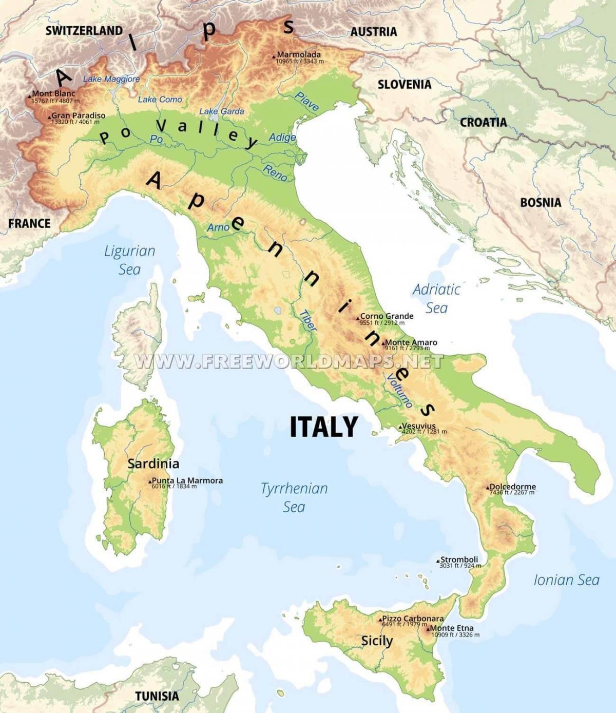 Cartina Fisica Dellindonesia.Cartina Fisica Dell Italia Italia Caratteristiche Fisiche Mappa Europa Del Sud Europa