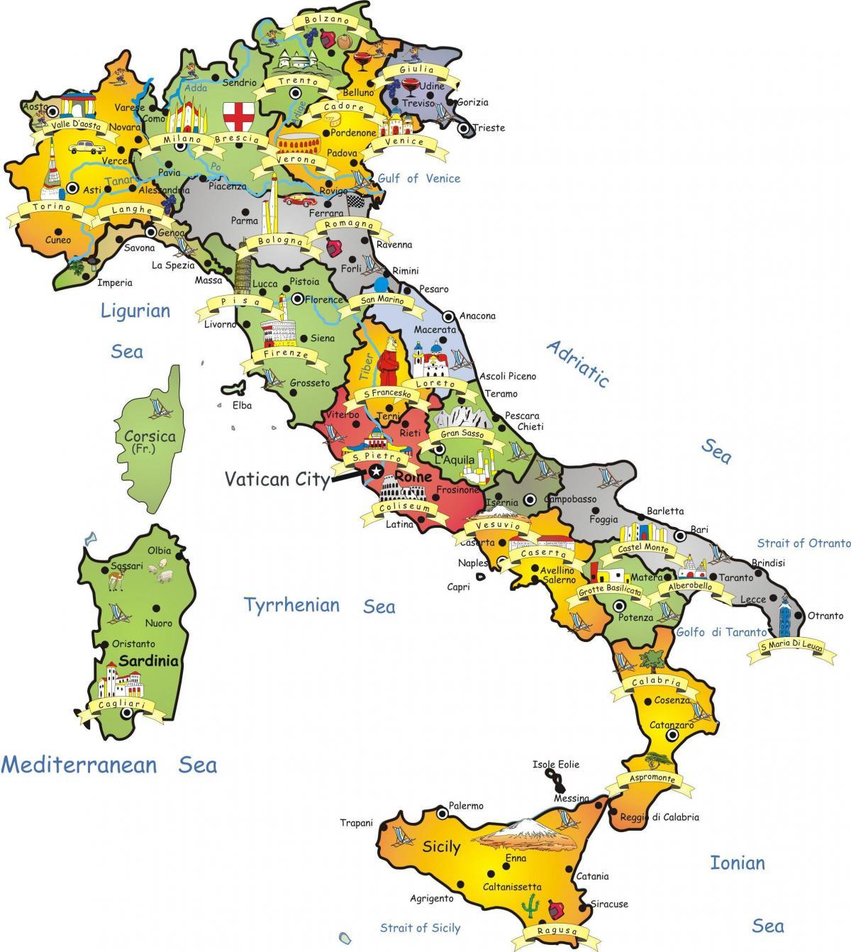 Italia Mappa Turistica Italia Mappa Del Turismo Europa Del Sud