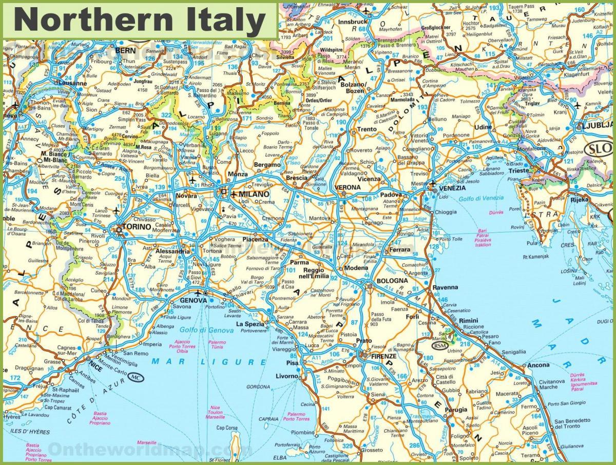 Cartina Italia Settentrionale Dettagliata.Mappa Del Nord Italia Cartina Mappa Del Nord Italia Europa Del Sud Europa