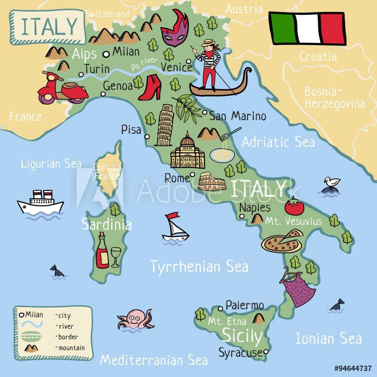 Mappa Dellitalia Per Bambini.Mappa Dell Italia Per I Bambini La Mappa Dell Italia Per I
