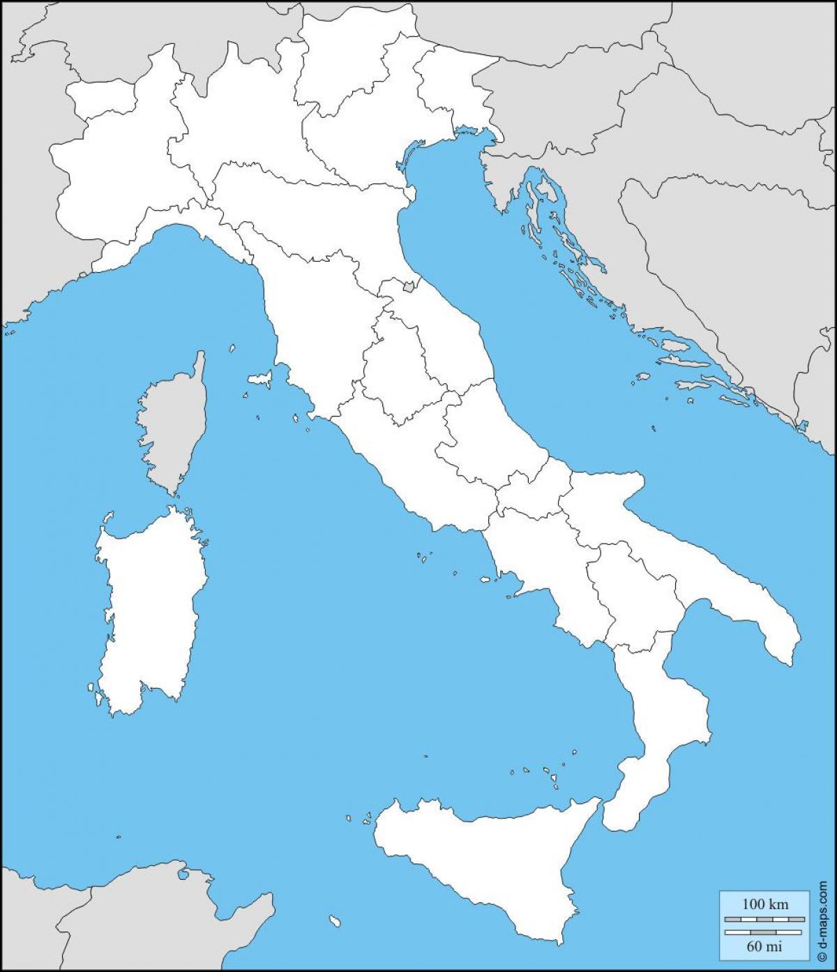 Cartina Vuota Dell Italia.Mappa Vuota Di Italia Vuoto Cartina Dell Italia Con Le Regioni Europa Del Sud Europa